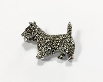 Vintage 925 Sterling Silver Dog Pin - Scottie Dog - Scottish Terrier - Marcasite Dog Pin - Sterling Marcasite Pin - Sterling Marcasite Dog