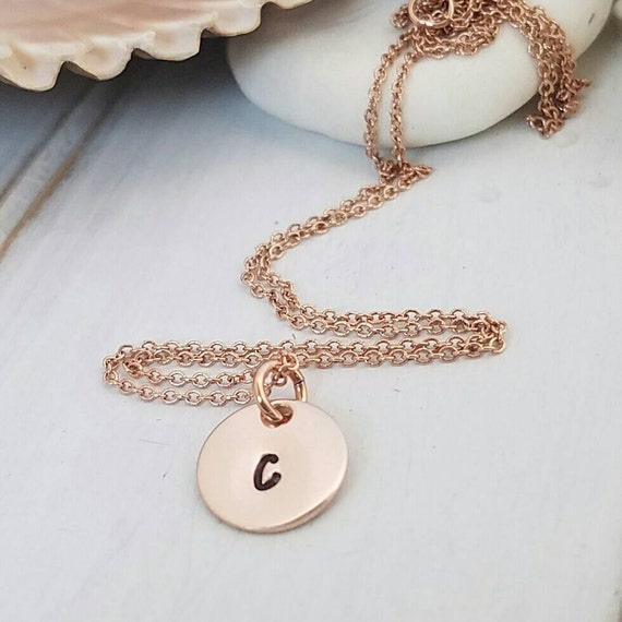 Rose Gold Initial Necklace, Personalized Initial Necklace,14kt Rose Gold Filled, Custom Initial necklace, Dainty Mother Necklace, Minimalist