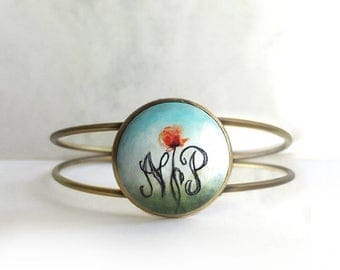Artistic Personalized Bracelet, Hand Painted Wood Cabochon Bracelet, Initial Jewelry, Small Poppy Painting, Original Letter Art Bracelet