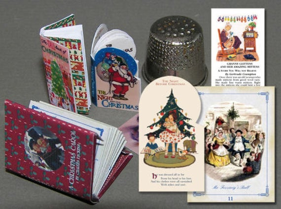 3 books of Christmas stories, paper minis, DIY kit from paper in miniature for the Doll House, dollhouse miniatures # 40031