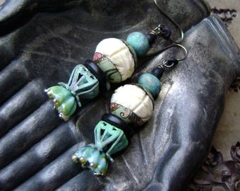 Colors of The Shoreline, assemblage earring, ooak mixed media jewelry, carved bone beads, verdigris patina, lampwork headpin, AnvilArtifacts
