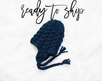 Ear Flap Knit Hat Ready To Ship Hand Knit Handmade  Child Teen Hat Cable Knit