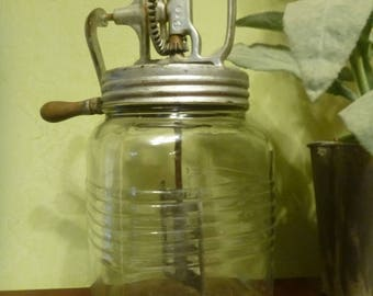 Primitive Dazey Hand Crank 4 Quart Butter Churn With Metal Paddle
