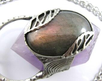 titania - purple labradorite & amethyst crystal pendant
