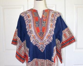 1970s African Daishiki Shirt . Vintage 70s Boho Hippie Ethnic Tribal Tunic Top . Unisex . Sz Large Women's Sz Medium Men's USA