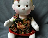 """SALE! Fretta's BeBe Cheeks Girl 43 cm /17"""".Christmas Outfit/Bald/Brown Eyes. All Natural Soft Sculpted Jointed Baby, Child Safe Cloth Doll"""