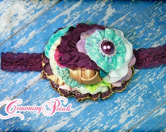 M2M Hair Accessory, Dark Purple, Aqua, Tan Hair Piece, Made to Match Eleanor Rose Fall Plum Meadows, Turquoise, Pink Headband, Hair Clip