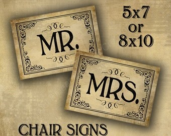 Printed Vintage Style Mr & Mrs Chair Signs for Wedding, Wedding chair signs, Wedding signage -  vintage black tie design