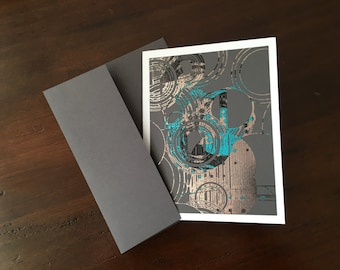 """Silver, Turquoise, Red and Black Metallic Foil Print Blank Greeting Cards - set of 4 - Grey Cardstock - A2 - 4.25""""x5.5"""""""