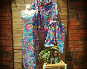 20%Of Vintage Hawaiian Wedding Set Retro Rockabilly Tiki Psychedelic Aloha Set