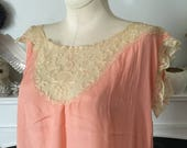 20s Peachy Silk and Lace Nightgown