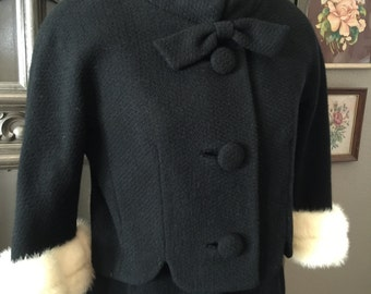 Mink Trimmed LilliAnn Black 60s Suit