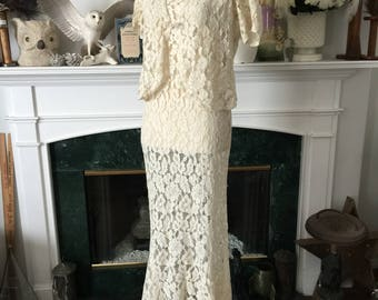30s 2pc Lace Party Dress