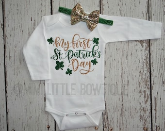 My first St Patrick's day bodysuit- First St. Patrick's outfit, green gold bow, 1st St. Patrick's shirt, St Patrick's day, First St Patricks