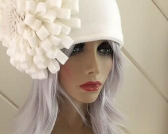 Ivory Flower Headband, Ivory Fleece Headband with Flower, Gifts Under 20 Dollars