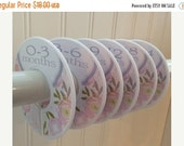 ON SALE 6 Baby Closet Dividers Pink Gray Baby Shower Gift Closet Organizer Clothes Dividers