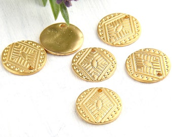 Gold, Round Tribal Flat Disc Charms, Gold Disc Charms, 17mm, 6 pieces // GCh-229