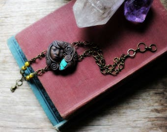 Goddess Bracelet with Chrysocolla Gemstone...Clay with Healing Gemstone and Crystal Jewelry.