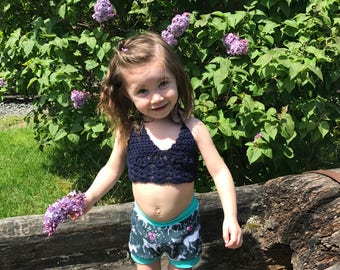 Children's MARINA bikini/ crop top by HPD.  Festival top.  Bohemian. Made in Canada.  Custom Colors & size.  Worldwide shipping.