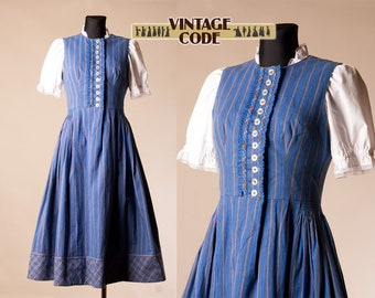 Blue Striped Pinafore Dirndl Dress / Austrian German Trachten Oktoberfest folk dress by Hansi trachten / size small to Medium