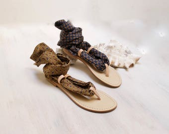 leather silk sandals, italian scarf sandals, lace up sandal, one of a kind sandal