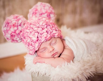 Crochet newborn pom pom hat with large pom poms newborn or 0-3 month great photography photo prop made with wool blend yarn pink