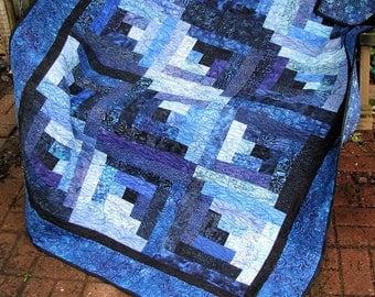 Quilt - Lap Quilt, Sofa Quilt, Quilted Throw - True Blue Log Cabin - Blue Log Cabin Batik Quilt