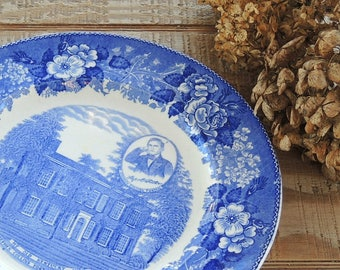 Staffordshire Collectable Blue and White Dinner Plate, My Old Kentucky Home Flow Blue English China, Transferware, Pie Plate, Ca. 1970's