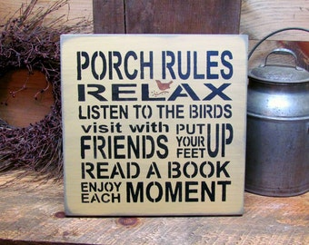 Wooden Sign, Porch Rules Sign, Porch Decor, Mother's Day Gift, Porch Saying, Relax on The Porch, Housewarming Gift, New Homeowner Gift Idea