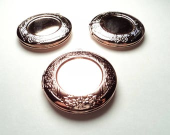 3 pcs - Rose Gold plated 32mm round lockets with setting -  m205Lrg