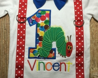Custom boys hungry little caterpillar bodysuit or tshirt with suspenders and bow tie