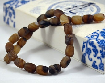 Barrel bead Scrub Coffee Color Agate Beads ----- 10mm x14mm ----- 28Beads, Agate beads