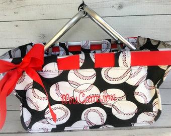 Market Tote - Monogrammed- Personalized Bag - Picnic Basket - Personalized Shopping Bag - Baseball Tote - Baseball Bag