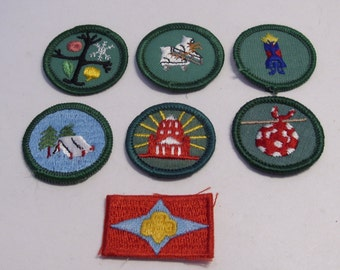 Group of Seven Vintage Junior Girl Scout Badges and Patches Circa 1960- 70 Group #2