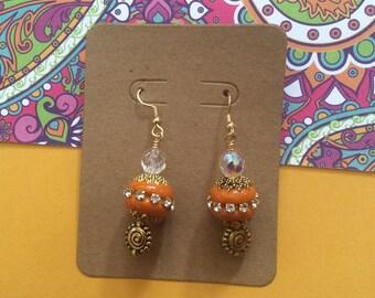 Orange dangle earrings, Bollywood inspired, India inspired
