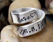 Personalized Ring - Name Date Ring - Gift for Mom - Hand Stamped - Wrap Ring - Mothers Ring - Child Name and Birthdate - Mommy Ring