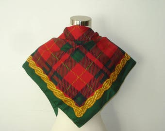 Vintage Red and Green Christmas Square Scarf - Festive - Checked Scarves - Womens Accessories