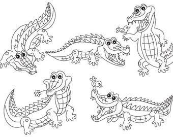 Black & White Crocodile Clipart - Digital Vector Crocodile, Africa, Crocodile Clip Art