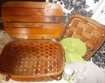 Picnic Basket with Tray, Primitive Woven Picnic Basket, Wooden Weaved Picnic Basket, Picnic Basket Set, Vintage Home Decor,