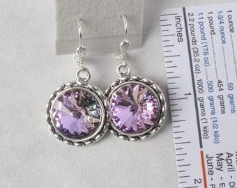 Pale Purple Crystal Earrings on Silver Leverback Earwires