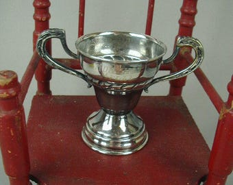 "Very Vintage Silver Plated Trophy, Loving Cup, Inscribed ""Monthly Medal"" Miniature Trophy, Collectible"
