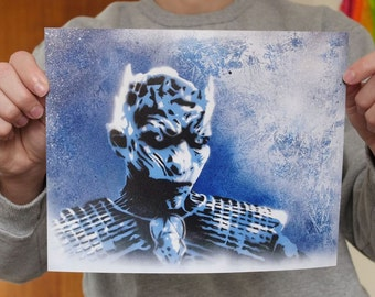 The Night's King - Game of Thrones - graffiti art stencil painting PRINT - Whitewalkers Winter is Coming ASOIAF agot acok affc adwd twow