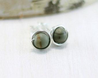 Cherry Creek Jasper Earrings, Sterling Silver Green Stone Earrings Red Creek Jasper Stud Earrings Wire Wrapped Post Earrings