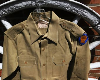 Vintage WWII US Army Military Form Fit Khaki Long Sleeved Shirt - 46th Infantry Ironfist - from DustyMillerAntiques