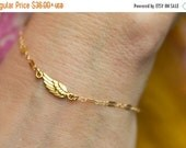 Angel Wing Bracelet, Angel Bracelet, Gold Charm Bracelet, Dainty Bracelet, Simple Bracelet, Layering Bracelet, Sideways Wing Bracelet, Boho