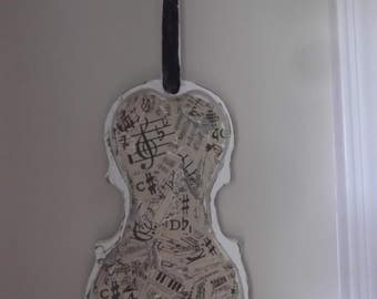 vintage violin shelf shadow box. distressed violin shelf, music paper