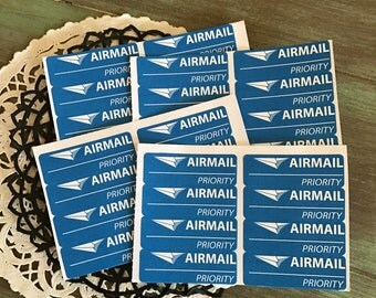 Air Mail Labels / 32 Airmail Priority Labels for Altered Art, Mixed Media, Journals, Scrapbooks