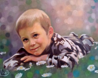Personalized Family Portrait from Photos - Hand Painted Custom Painting Oil on Canvas - Amazing Gift Baby Custom Portrait Of A Child