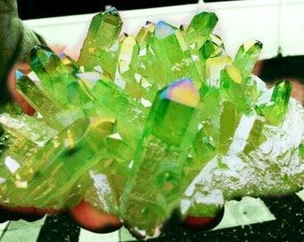 Large Angel Aura Crystal Cluster,Large Quartz Crystal Cluster, crystal cluster, angel aura crystal