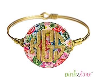 Monogrammed Bangle Bracelet, Personalized, Monogrammed, Wire Bracelet, Bangle, Jewelry, Bridesmaids Gift, Birthday, Mother's Day, Sorority